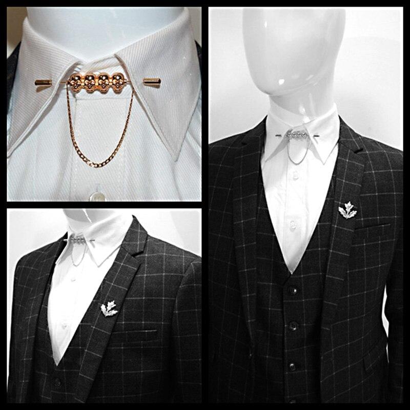 Obn new brand gold silver skeleton head chain menstie for Tie bar collar shirt