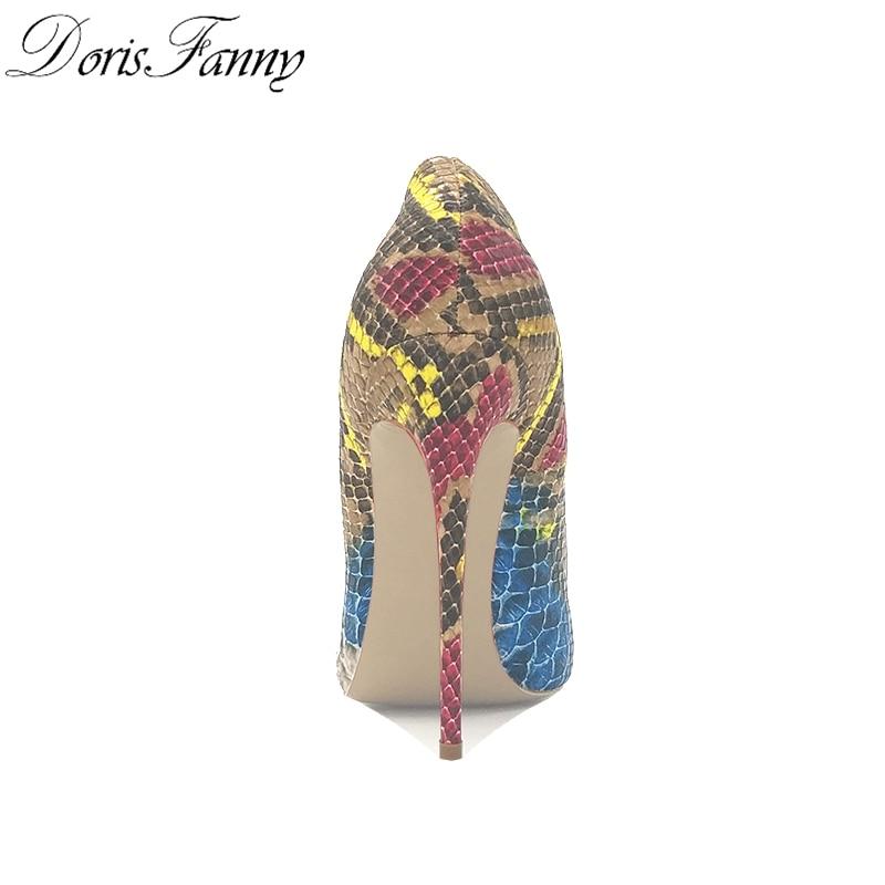 DorisFanny/африканские женские туфли со змеиным принтом и сумочка в комплекте; туфли лодочки на высоком каблуке 12 см - 5