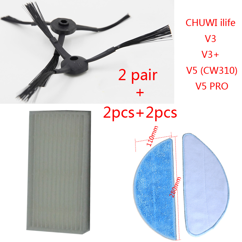 2pair side Brush+2pcs hepa Filter+2pcs Mop Cloth for chuwi ilife X5 V3  V3+ V5 (CW310) V5 PRO chuwi ilife X5 replacement parts cheapest 1pcs cleaning mopping cloth 3 pair hepa filter 3 pair cleaner side brush for dt85 dt83 dm81 vacuum cleaner for house