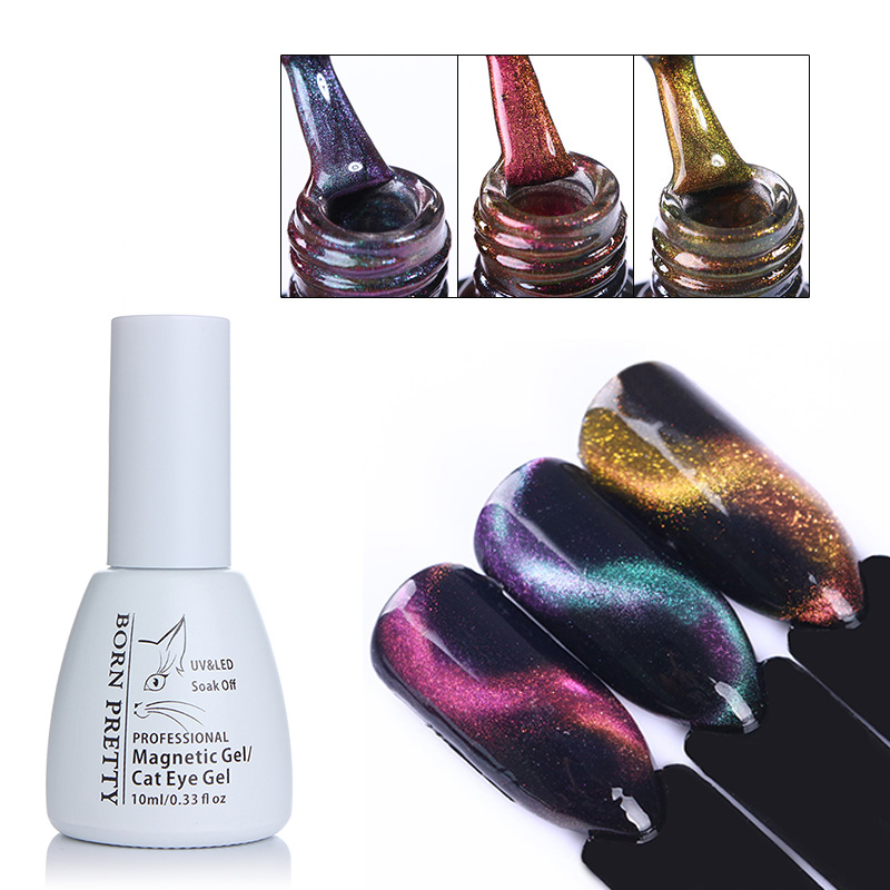 BORN PRETTY 10ml 3D Cat Eye UV Gel Polish Chameleon Magnetic Gel Soak Off UV Gel Varnish Manicure Nail Art Color