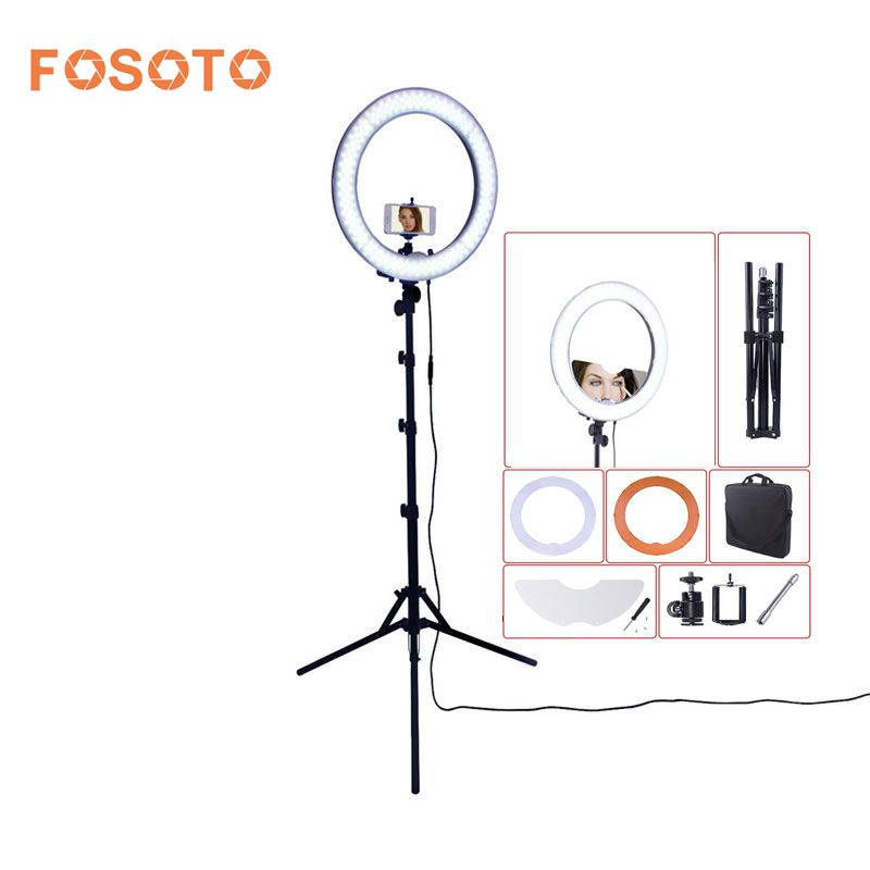 fosoto RL-18 Camera Photo Studio Phone Video 55W 240 LED Ring Light 5500K Photography Dimmable Ring Lamp & Mirror/Tripod Stand fotopal led ring light for camera photo studio phone video 1255w 5500k photography dimmable ring lamp with plastic tripod stand
