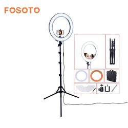 fosoto RL-18 Camera Photo Studio Phone Video 55W 240 LED Ring Light 5500K Photography Dimmable Ring Lamp & Mirror/Tripod Stand
