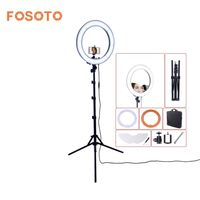 fosoto RL 18 Camera Photo Studio Phone Video 55W 240 LED Ring Light 5500K Photography Dimmable Ring Lamp & Mirror/Tripod Stand