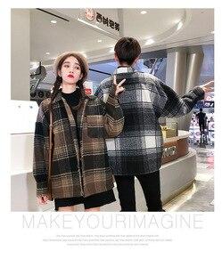 Image 3 - Abrigo de moda para hombre y mujer, abrigo de lana largo medio holgado de otoño.