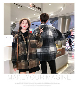Image 3 - Mens and womens fashion coat in autumn loose  medium long checked woolen coat.