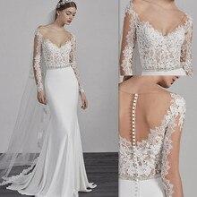 Tül V Yaka Uzun Kollu Kat Uzunluk Mermaid düğün elbisesi Boncuk Kemer ile Sweep Tren Tül Düğme Geri Gelin Elbise