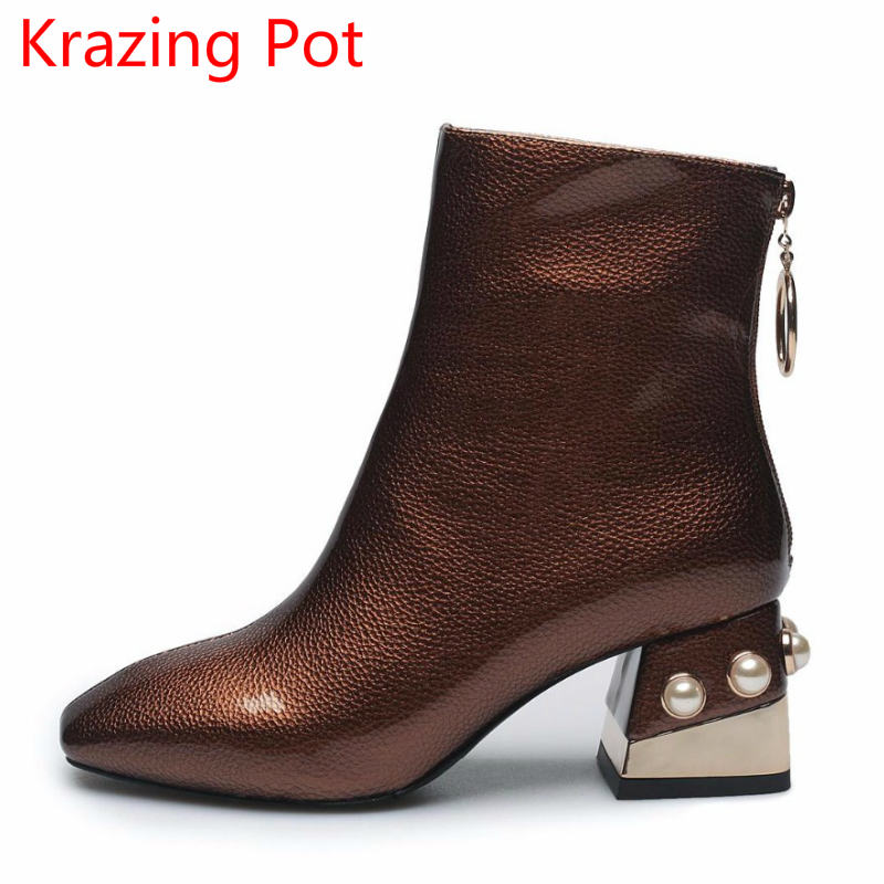 2018 Large Size Genuine Leather Pearl Zipper Square Toe High Heels Keep Warm Metal Buckle Handmade Ankle Boots for Women L6f6 2018 new arrival genuine leather zipper runway autumn winter boots round toe high heels keep warm elegant women ankle boots l29