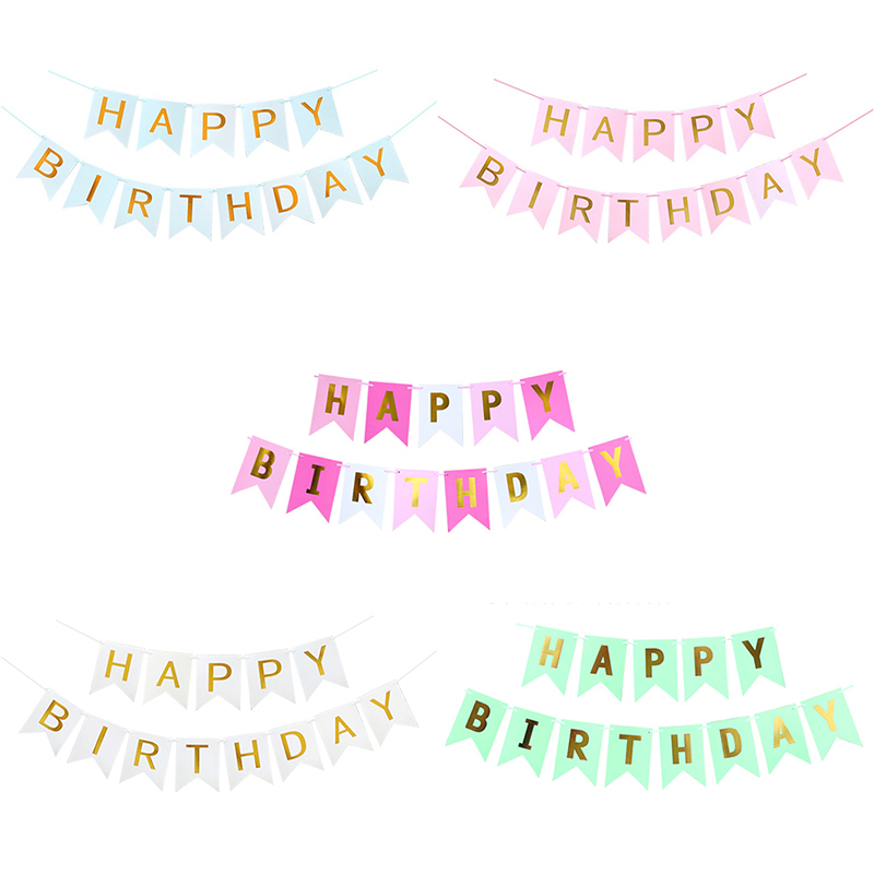 Glitter Paper Birthday Party Hanging Bunting Banner Flag: Pink String Flags Gold Letters Hanging Garlands Pastel
