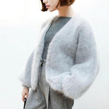 LOVELYDONKEYPure mink cashmere cardigan sweater women genuine mink cashmere coat open stitch free shipping m1125(China)