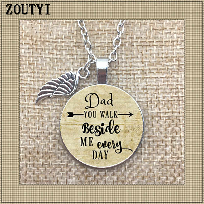 Commemorative, glamour necklace, you walk next to me every day, no father's wedding day, lost his father, in honor of my father