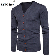 Men Button cardigans Sweaters 2017 New Casual solid Pullover V Collar Thick Cashmere sweater Outerwear Clothing size S-XXL