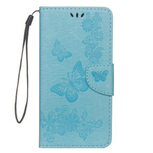 Butterfly Flower Leather Phone Case Flip For Samsung Galaxy A9 A8 A7 A6 Plus 2018 A3 A5 2017 Hoesje Cover Holster Lanyard Case
