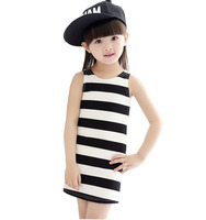2016 Kids summer round neck striped dress sleeveless cotton girls dress baby girl clothes 2 3 4 5 6 7 8 years old