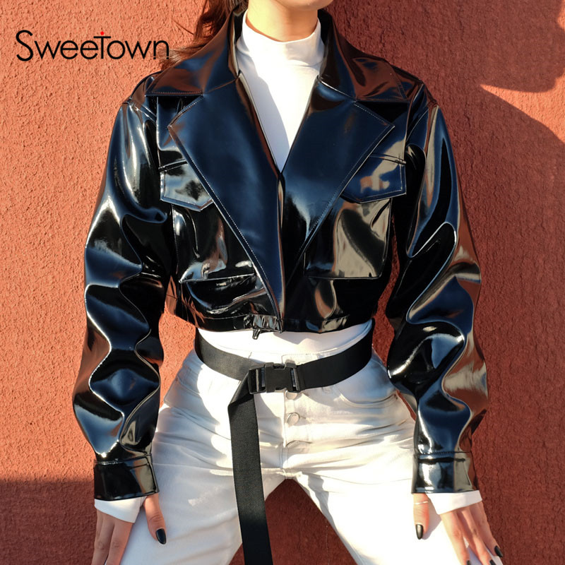Sweetown Steampunk Bomber Leather Jacket Women 2018 Autumn Fashion PU Chaqueta Mujer Streetwear Black Cropped Coats And Jackets