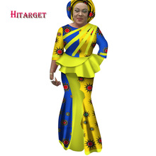 Hitarget 2019 New African Splice Long Dresses for Women Dashiki Traditional Cotton Top Skirt Set of 3 pieces Clothing WY2599