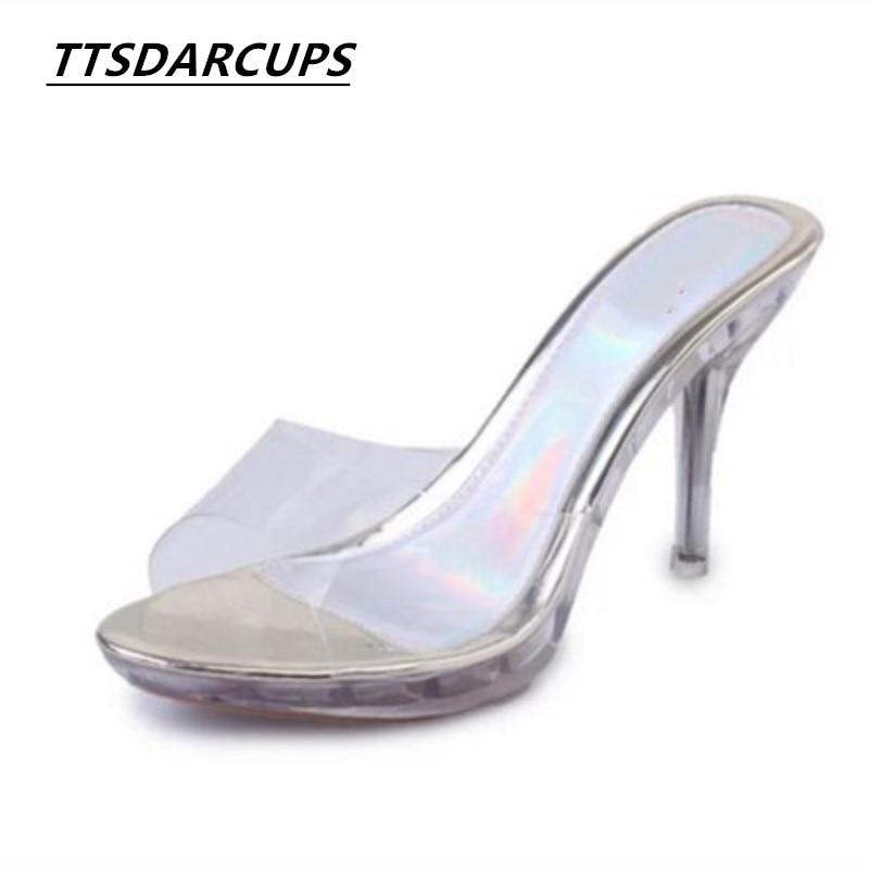 Verano Fino Estilo Con Adhesivo Alto Coreanas Palabra Arrastrar Transparentes Exterior Zapatos Sandalias Zapatillas plata Sexy blanco Tacón Niñas De Oro 2017 wqECF5gn4F