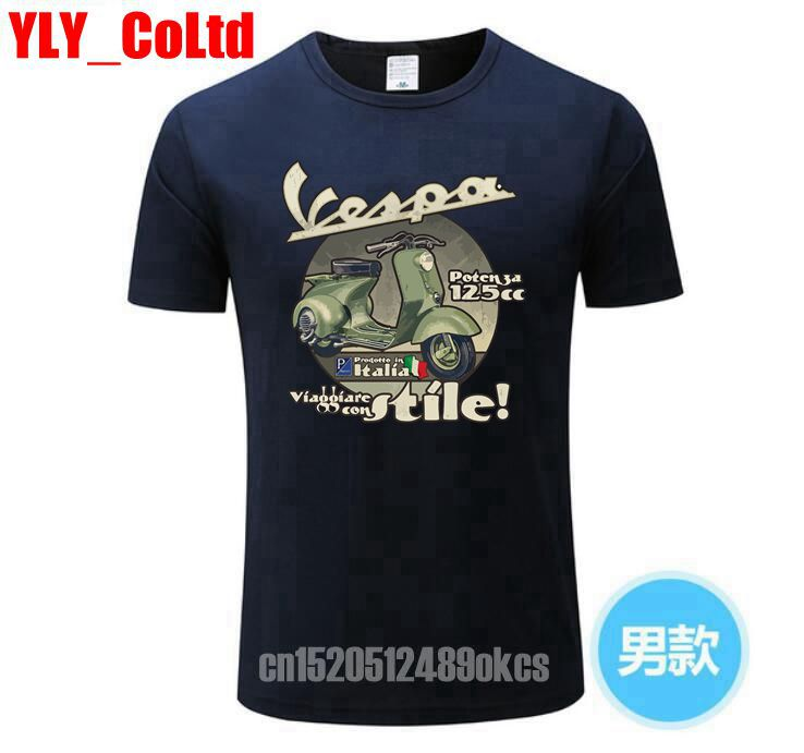 Motorcycle Coming Vespa PX 125 Man   T     shirt   Custom Made Loose Tops Men's Summer Round Neck Tees Teenage Latest Unique Tee   Shirt   2
