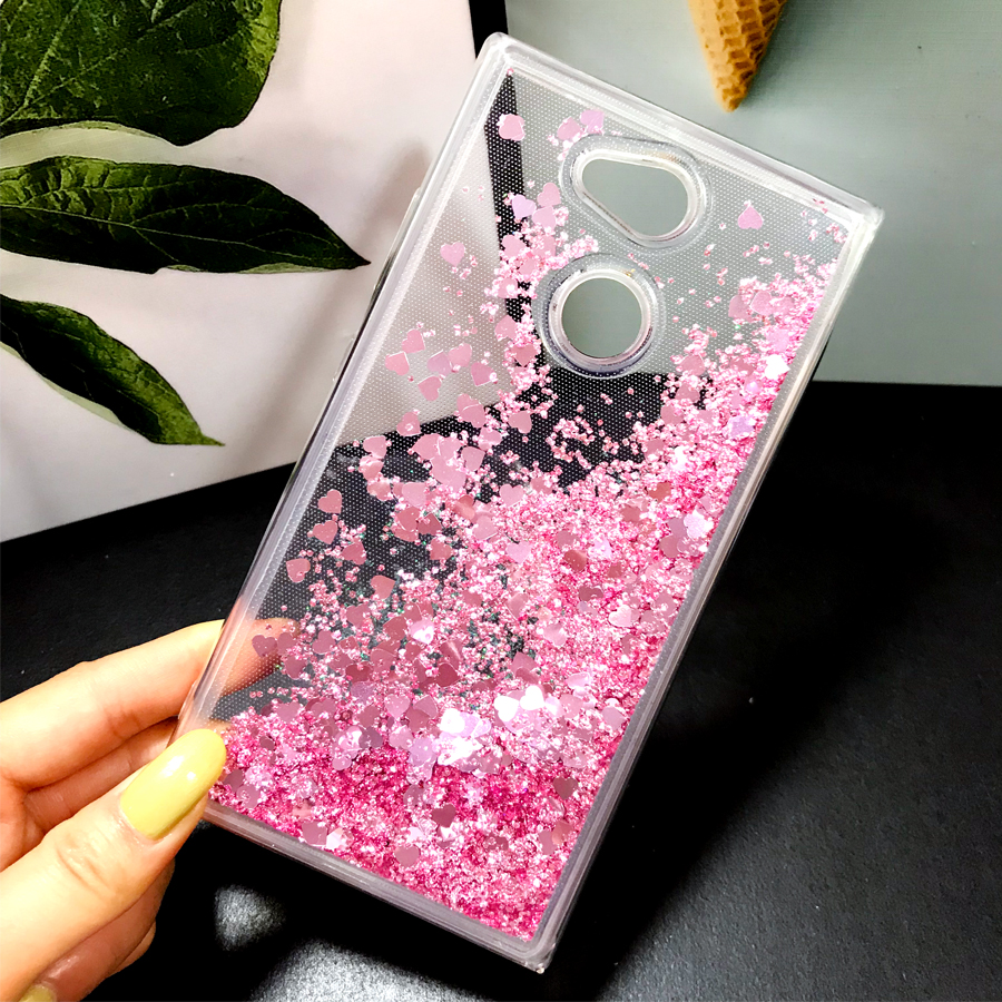 Glitter Liquid <font><b>Cases</b></font> For Sony <font><b>Xperia</b></font> <font><b>1</b></font> L1 L2 L3 Z5 XZ4 XA2 Ultra XA3 <font><b>case</b></font> silicone Soft Cover For Sony XA3 Phone Fundas Coque image