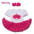 Princesa de Las Muchachas Del Bebé Mamelucos 2 Unids Ropa Infantil Set Hot Pink primero Cumpleaños Tutu Vestido Jumpersuit Bebe Trajes de Fiesta de Cumpleaños