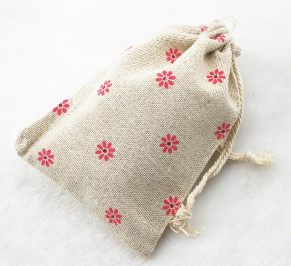 10x14cm Pink Flower Vintage Cotton Burlap Jute Favour Candy Gift ...