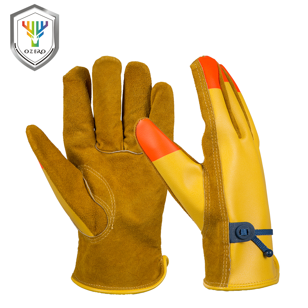 Leather work gloves china - Ozero Cowhide Men S Work Driver Gloves Magic Rope Leather Security Protection Wear Safety Workers Working Gloves