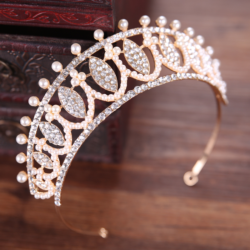 New Baroque Gold Hair Jewelry Simulated Pearl Crystal Tiaras And Crowns King Queen Wedding Bride Hair Accessories HG034