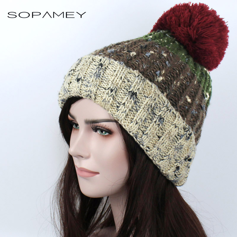Women winter hat knitted beanies Skullies thick warm cap pompom hats Mixed color stripe gorros cap Female Causal Outdoor ski hat 2017 winter women beanie skullies men hiphop hats knitted hat baggy crochet cap bonnets femme en laine homme gorros de lana