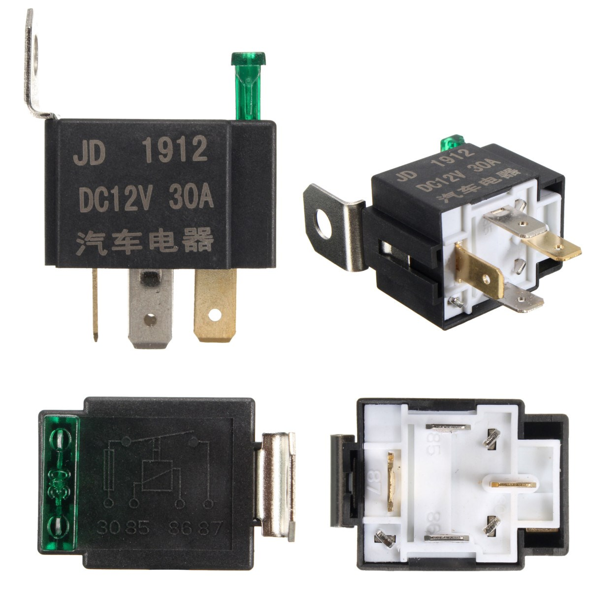 Nieuwe Fused Op/Off Auto Motor Automotive Fused Relais DC 12 V 30A 4 ...