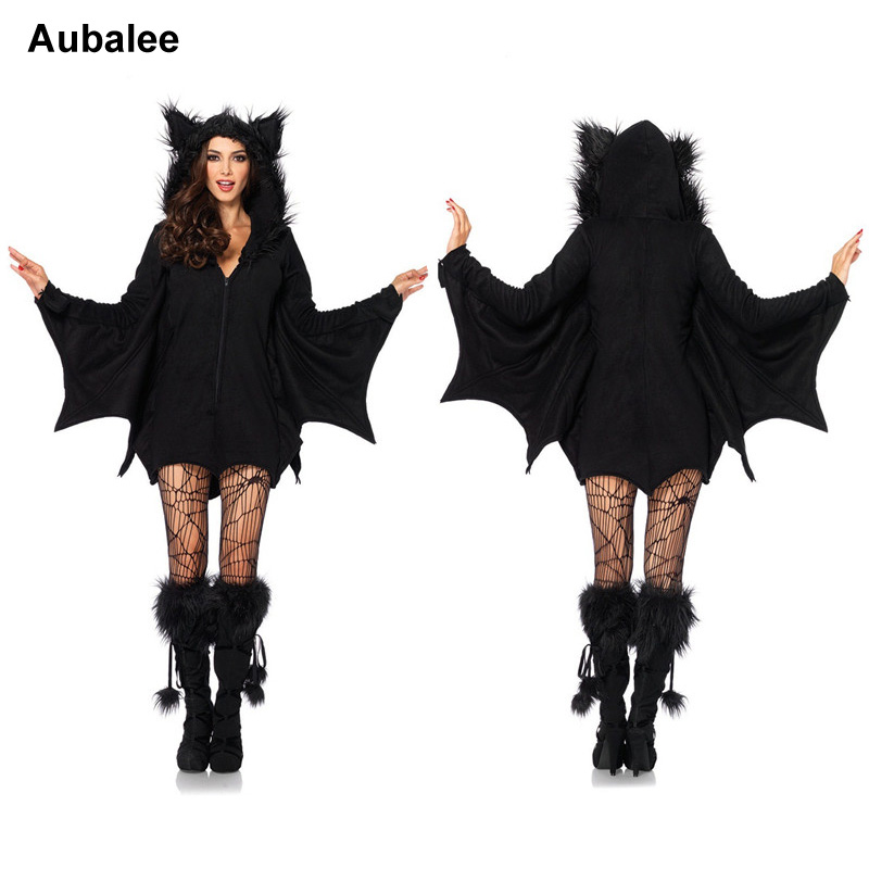 Black Bat Costume Sexy Animal Cosplay 2018 Fashion Costume Women Halloween Black Bat Party Zipper Costume
