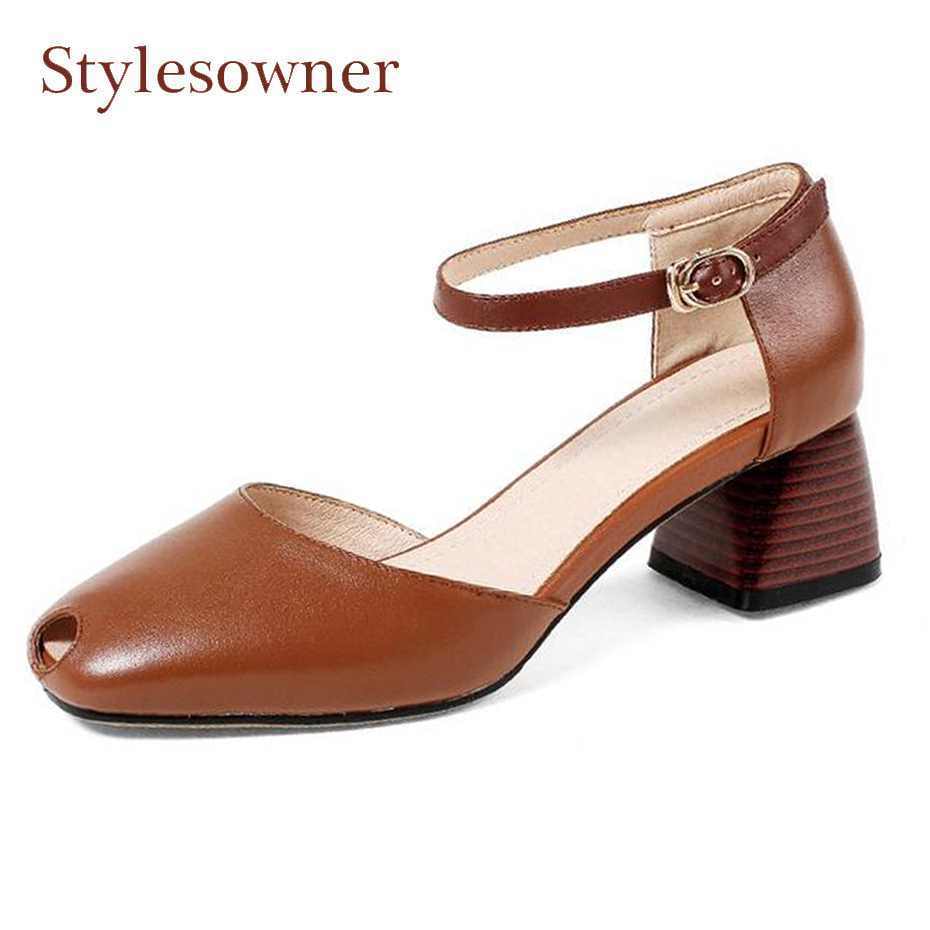 Stylesowner fashion new two piece hollow out women pumps ankle strap genuine leather chunky heel mary jane shoes summer sandalsStylesowner fashion new two piece hollow out women pumps ankle strap genuine leather chunky heel mary jane shoes summer sandals
