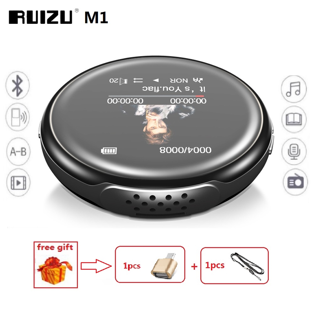 Newest MP3 Player RUIZU M1 Bluetooth Sport MINI MP3 Player Portable Audio 8GB With Built-in Speaker FM E-Book Music Players