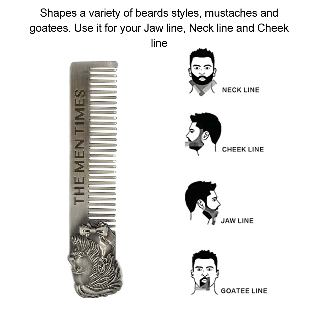 1pc Stainless Steel Men's Beard Styling Template Comb Shaping Brush Tool Beard Comb Template Grooming Kit Facial Hair Trimmer 5