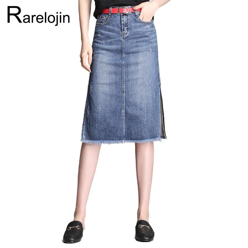 Rare lojin été jupe 2019 nouvelle mode coréenne taille haute un mot denim jupe décontracté sauvage fente midi jupe femmes jupe vêtements