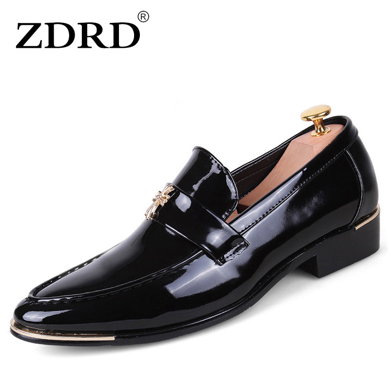 ZDRD popular pointed toe men shoes Men Flats Shoes Luxury Brand PU Leather Men Dress Shoes Italian Designer Flat Wedding Shoes fashion top brand italian designer mens wedding shoes men polish patent leather luxury dress shoes man flats for business 2016