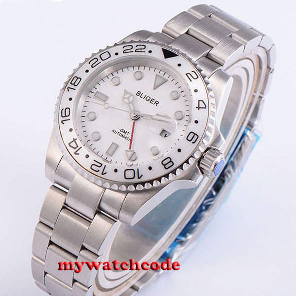 40mm bliger white dial GMT Ceramic Bezel sapphire glass automatic mens watch 191 цена