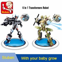 Sluban Building Blocks 6 In 1 Transform Robot Combined Model Сумісна з legoe lepin Освіта 3D Bricks Toy Children Boy