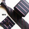 Мода формальное галстук набор запонки + носовой платок + подарочная коробка + cravates черный с красно-синими полосами БЕСПЛАТНАЯ ДОСТАВКА
