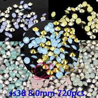 Point Back Rhinestone Beads Ss38 8 0mm 720pcs Resin Stone Beads For DIY Decoration 6 Color