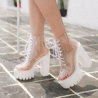 2018 new autumn fashion transparent ankle boots for women super high heels boots glass light shoe high platform women boots