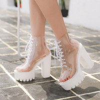 570d6ceefe 2019 New Autumn Fashion Transparent Ankle Boots For Women Super High Heels  Boots Glass Light Shoe
