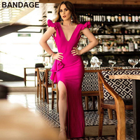 Leger Babe HL Evening Gown Party Women Extreme High Split Ruffle Detail V Neck Hot Pink Open Back Plunge Sexy Maxi Bandage Dress