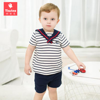 Tinsino Children Boys Fashion Summer Clothing Sets Baby Kids Sailor Collar Stripe T Shirts Shorts Infant