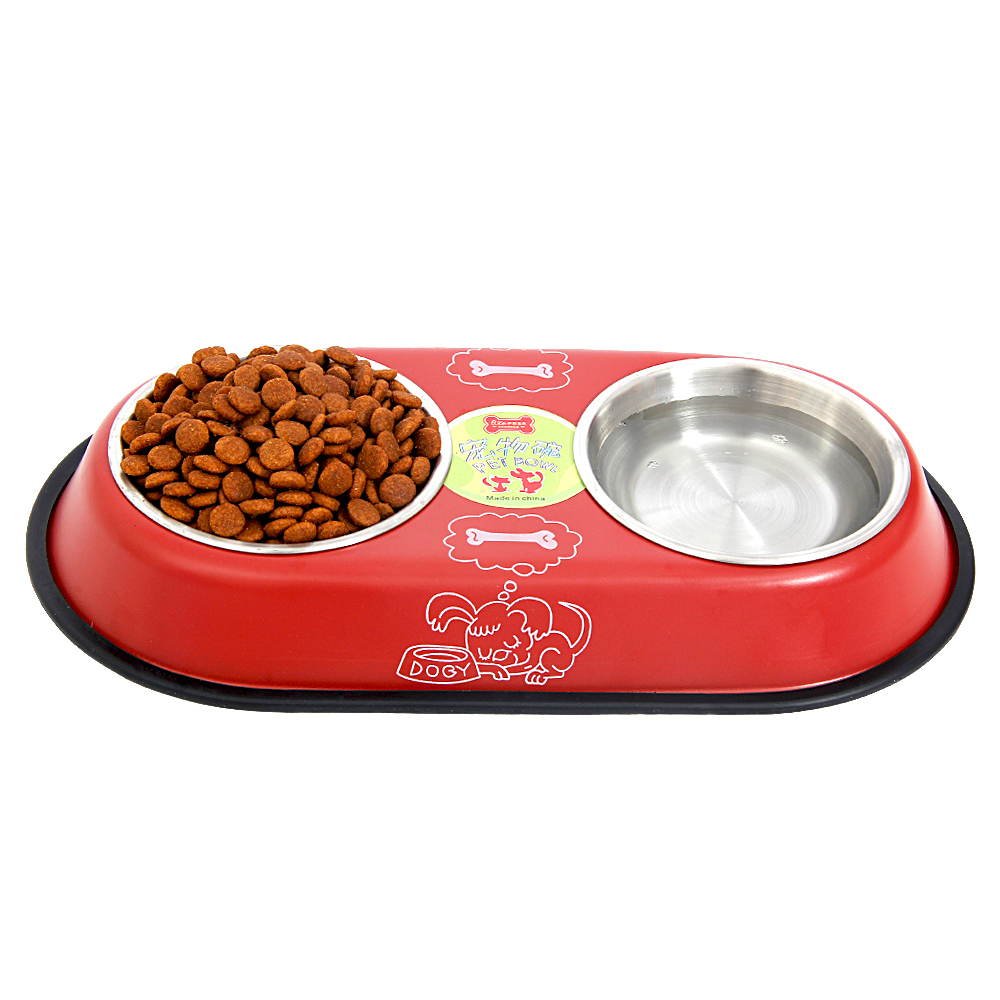 Uncategorized Dog Food And Water Bowl stainless steel feeder dog drinking big double bowl easy take food foodwater puppy cat 2 colors good quality hot