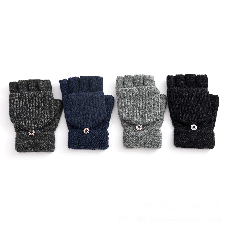 Knitted Gloves Winter Windproof Solid Touch Screen Gloves Mittens For Women Men Phone Male Thicken Autumn Warm Knitting Mittens