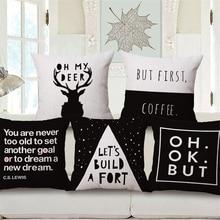Solid Nordic Passionate Letter Decorative Pillow Case Black White Chair Sofa Bed Vlevet Cushion Cover Home Decor 45x45cm e1398 недорого