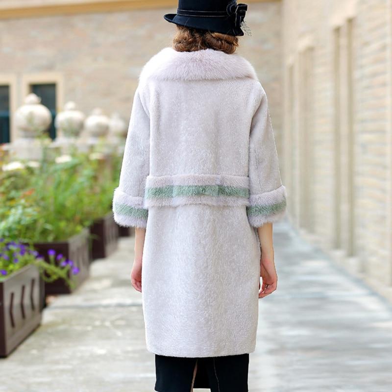 LVCHI Musim Dingin perempuan Mantel Bulu Nyata Kulit Hitam Putih Mink - Pakaian Wanita - Foto 4