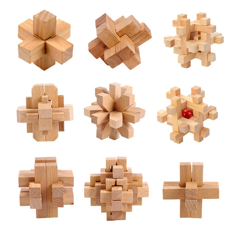 3D Wooden Kong Ming Lock Puzzle Cubes Toys Brain Teaser Logic Educational Puzzles Game Interlocking Wooden Toy For Kids