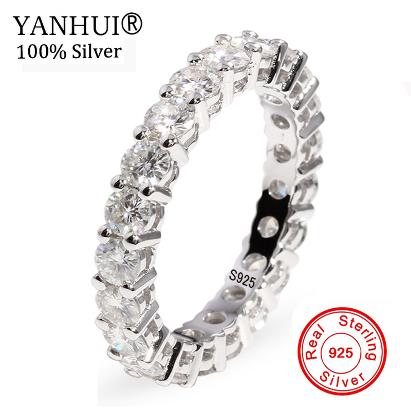 Promotion! New Hot Real Solid 925 Silver Ring 0.1ct Round CZ Stone Circle Wedding Eternity Rings Bands Jewelry for Women RA028 bravkis wedding bands eternity rings with zirconia for women cz crystal promise engagement finger ring bague jewelry bur0279