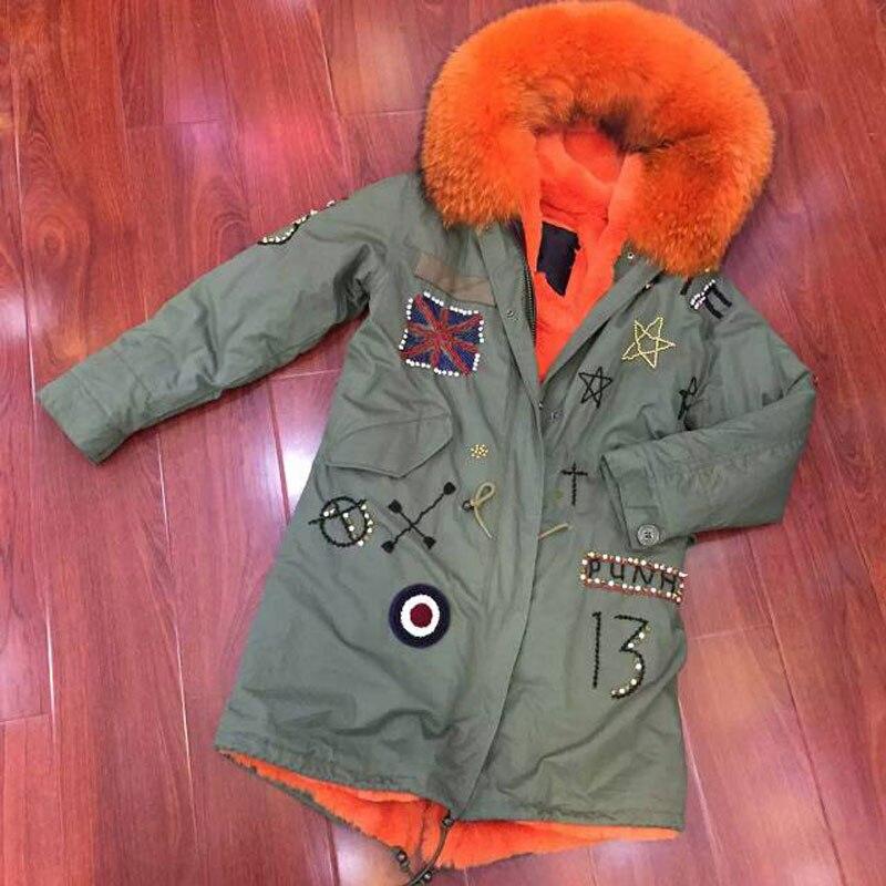 Bratain beading jacket faux fur liner & raccoon fur hooded long witner coat parka womens free shipping