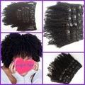 Hot sale Virgin Brazilian hair afro kinky curly hair 3c 4a 4b 100% Human Hair Clip in hair weft